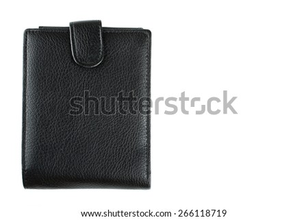 leather wallet black leather on a white background - stock photo