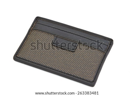 leather wallet card isolated on white background - stock photo