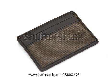 leather wallet card isolated on white background