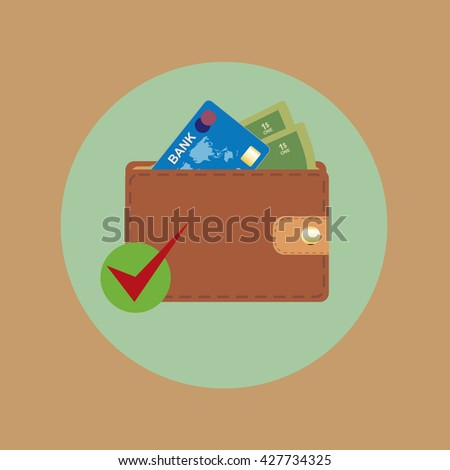 Leather wallet, dollars and Bank card. Illustration.