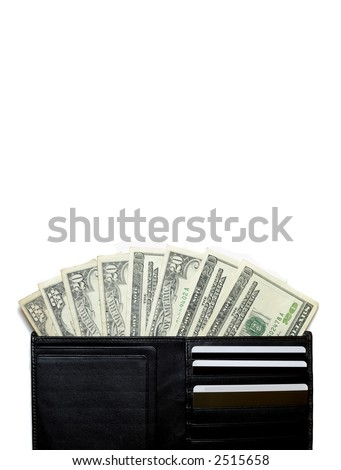 Leather wallet full of money on vertical white layout with room for copy text - stock photo