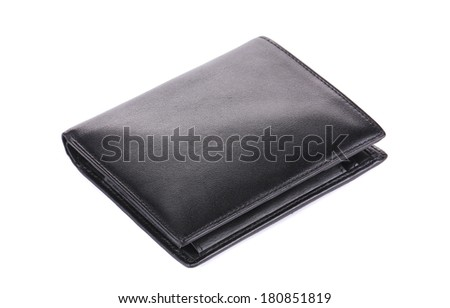 Leather wallet. Isolated on a white background. - stock photo