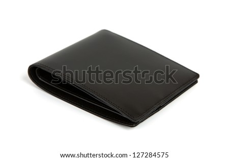 Leather wallet isolated on the white - stock photo