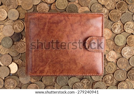 Leather Wallet on a background of Russian coins - stock photo