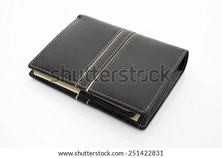 Leather wallet on white background