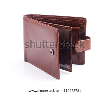 leather wallet open against white background - stock photo