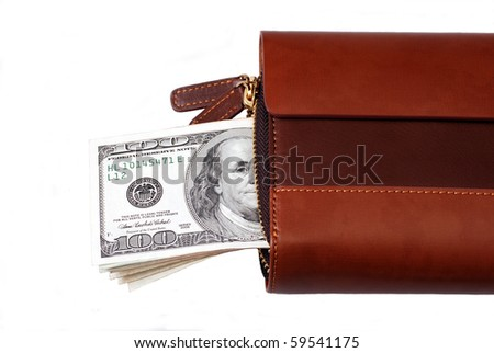 Leather wallet with bunch of dollars on white background - stock photo