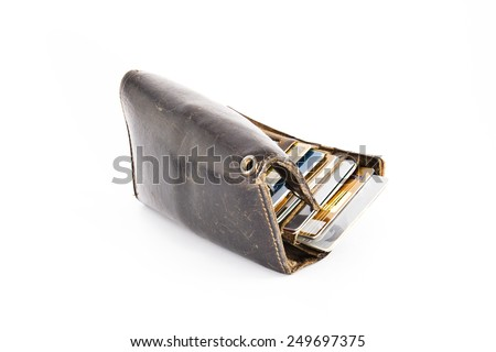 leather wallet with credit card - stock photo