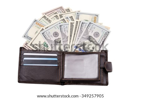 leather wallet with credit cards and dollars isolated