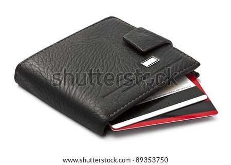 Leather wallet with credit cards inside - stock photo