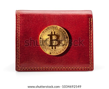 Leather wallet with golden bitcoin coin, isolated on the white background, clipping path included.