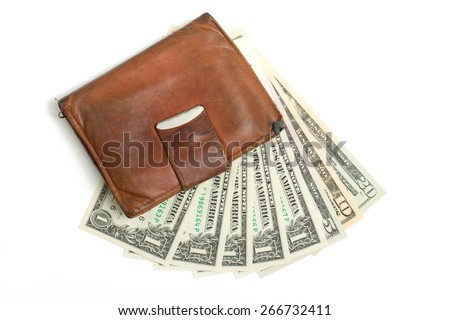 leather wallet with money banknotes US dolars nominal value one, five, ten and twenty isolated on white - stock photo
