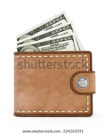 Leather wallet with money isolated on white. - stock photo