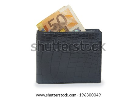 Leather wallet with money isolated on white background  - stock photo