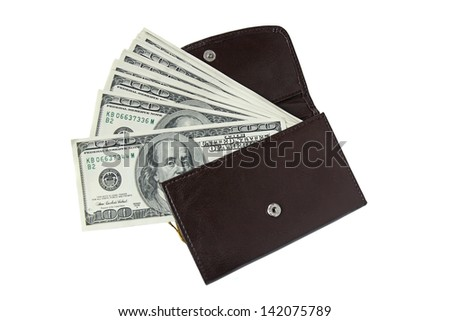 leather wallet with one hundred dollar bills isolated on white - stock photo