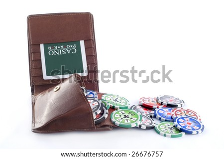 Leather wallet with poker chips isolated on white