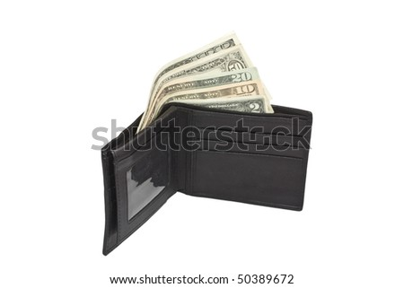 Leather wallet with some dollars inside