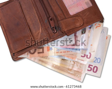 Leather wallet with some 50 Euro banknotes on white - stock photo
