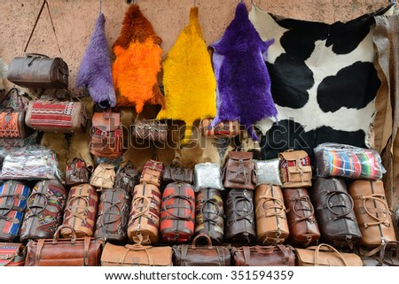 Leather ware on the souk (market) in the old town, Medina in Morocco - stock photo