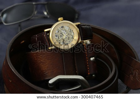 Leather Watch - stock photo