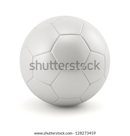Leather white football. Soccer ball - stock photo