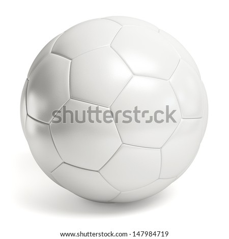 Leather white football. Soccer ball isolated - stock photo