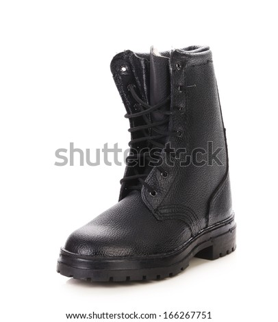 Leather winter black boot.