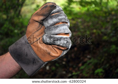 leather work glove - stock photo