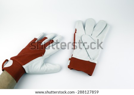 Leather work gloves on a white background.