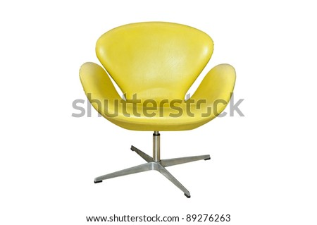 Leather yellow chair isolated - stock photo