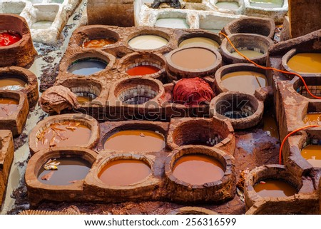Leathers are being washed or dried in the leather district in Fez, Morocco - stock photo