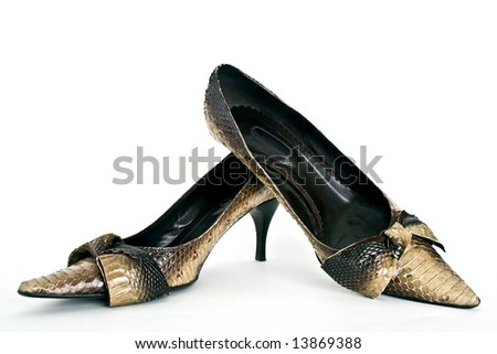 Leathers woman shoes - stock photo