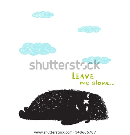 Leave Me Alone Lying Black Little Monster and Clouds. Sweet kids fictional melancholy character picture. Raster variant. - stock photo