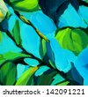 leaves against the blue sky, painting by oil on canvas, illustration, background - stock