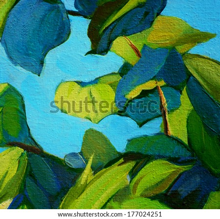 leaves against the blue sky, painting by oil on canvas, illustration, background - stock photo