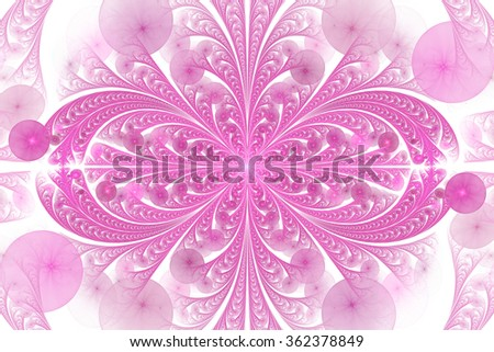 Leaves and seeds. Abstract monochrome floral ornament on white background. Symmetrical pattern. Stylish fractal design in pink color. - stock photo