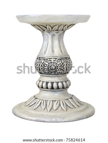 Leaves around a Stone Pedestal for holding up an item of importance - path included - stock photo