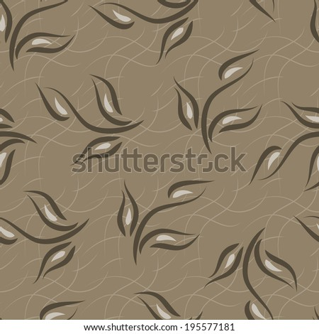 Leaves. Foliage. Seamless pattern. Brown background. - stock photo