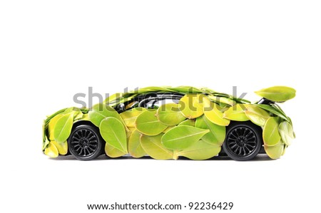 Leaves green car of the concept of isolated on white background - stock photo
