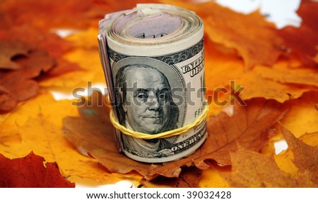 leaves in Autumn and Bank Roll of Hundred Dollar Bills - stock photo