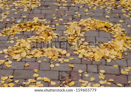 leaves laid out the number 20 on the ground - stock photo