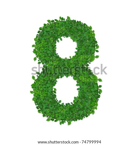 leaves number 8 - stock photo