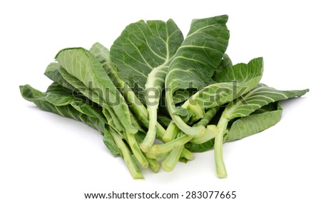 leaves of collards isolated on white  - stock photo