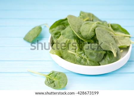 Leaves of fresh spinach in a plate