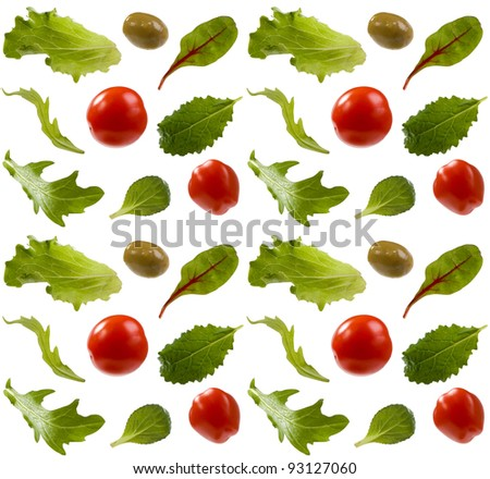 Leaves of salad and tomatoes isolated - stock photo