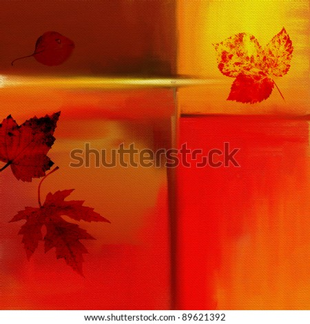 Leaves on colorful abstract background,canvas with hand painting,self made