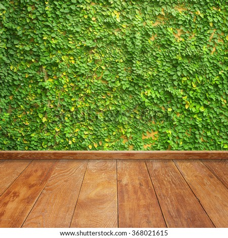 Leaves on wall and wood wall for background.Copy space - stock photo