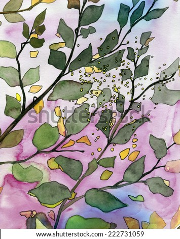 Leaves original watercolor painting