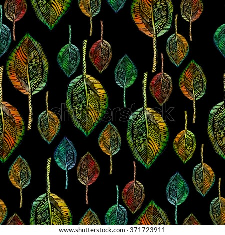 Leaves painted in watercolor style and Doodle. The background is a seamless texture - stock photo