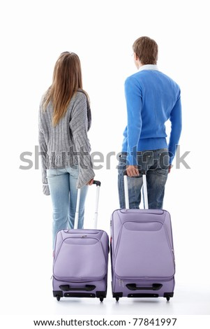 Leaving a couple of suitcases on a white background - stock photo